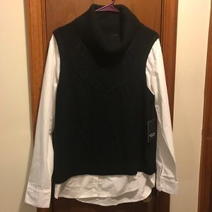 Simply Vera Sweater Vest with Blouse Sleeves